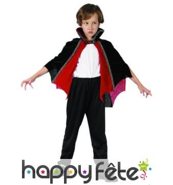 Cape mi-longue de petit vampire rouge et noire