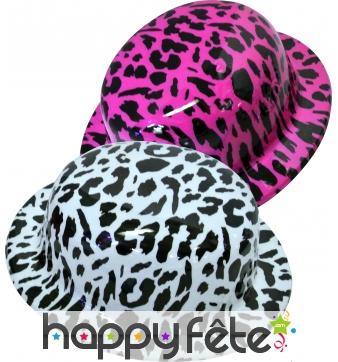 Chapeau melon leopard en plastique
