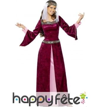 Costume marion médiéval pourpre