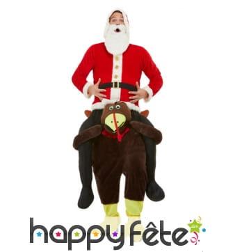 Carry me Père Noel à dos de dinde pour adulte