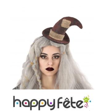 Chapeau marron rapiécé de sorcière sur serre-tête