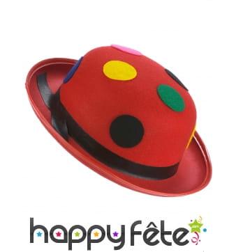 Chapeau melon rouge à pois colorés, adulte