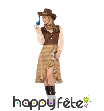 Costume marron robe de CowGirl