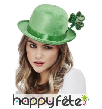 Chapeau melon Saint Patrick avec trèfle, velours