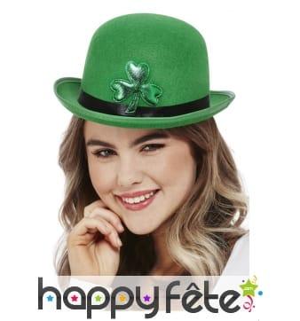 Chapeau melon Saint Patrick en feutre vert