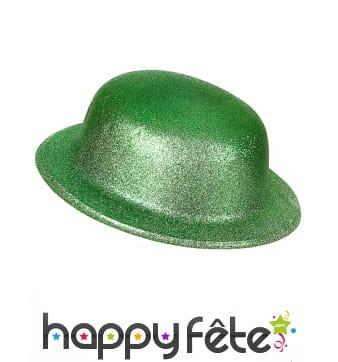 Chapeau melon Saint Patrick vert pailleté