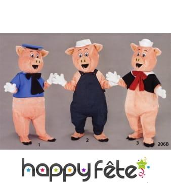 Costume mascotte trois petits cochons