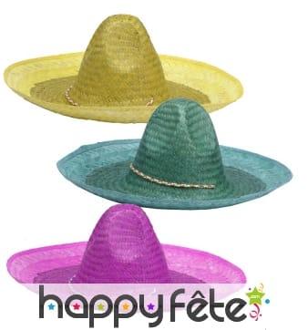 Chapeau mexicain unicolore pour adulte