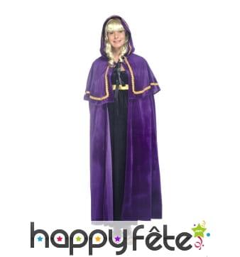Cape médiévale violette à capuche