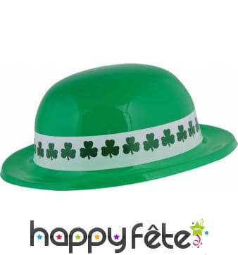 Chapeau melon vert Saint Patrick en plastique