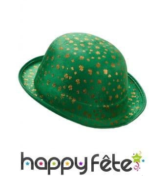 Chapeau melon vert trèfles dorés