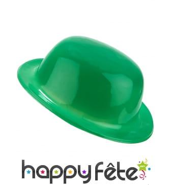 Chapeau melon vert uni en plastique