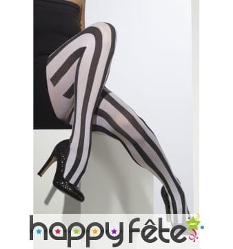 Collants noir blanc lignés verticalement