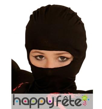 Cagoule noire de ninja pour enfant