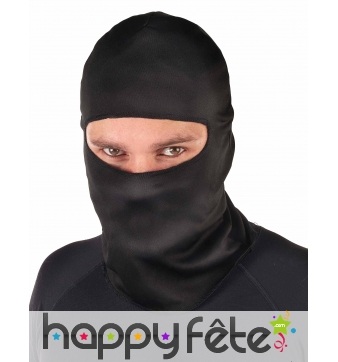 Cagoule noire de ninja taille adulte