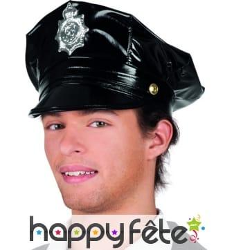 Casquette noire de policier effet vinyle