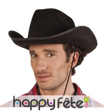 Chapeau noir de cow-boy pour adulte