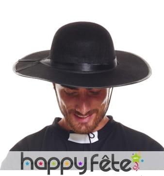 Chapeau noir de curé pour adulte