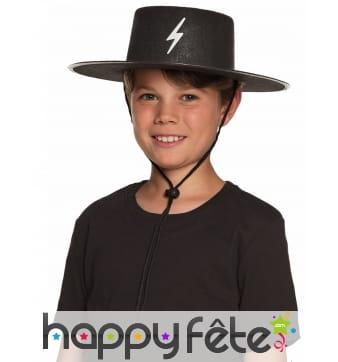 Chapeau noir de justicier masqué pour enfant