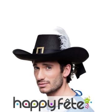 Chapeau noir de mousquetaire pour adulte