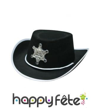 Chapeau noir de petit shériff