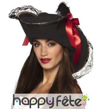 Chapeau noir de pirate avec dentelle pour femme