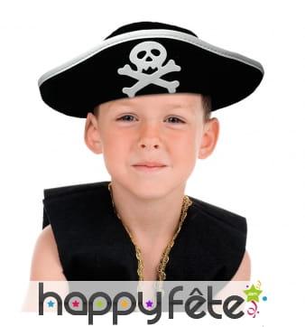 Chapeau noir de pirate tête de mort, enfant