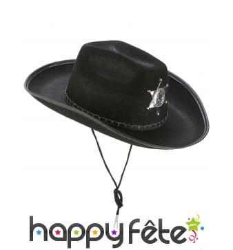 Chapeau noir de sherif avec étoile