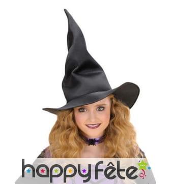 Chapeau noir de sorcière pour enfant, modelable