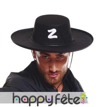 Chapeau noir de Zorro pour adulte