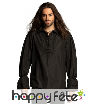 Chemise noire de pirate pour homme