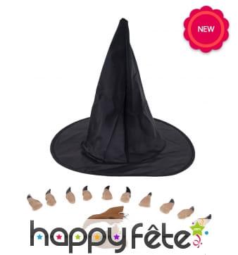 Chapeau, nez et doigts de sorcière pour femme