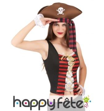 Corset noir et rouge de pirate avec manchettes