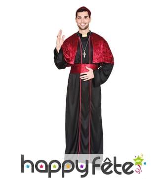 Costume noir et rouge d'évêque pour homme