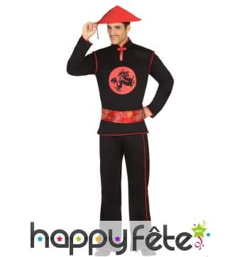 Costume noir et rouge de chinois pour homme