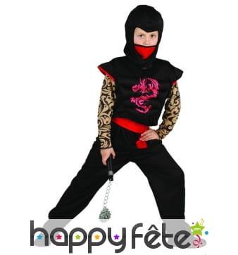 Costume noir et rouge de petit ninja