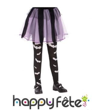 Collants noirs imprimé chauve-souris pour enfant