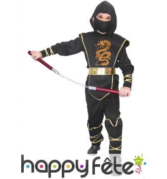Combinaison noire imprimé doré de petit ninja