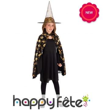 Cape noire or et chapeau de sorcière pour enfant