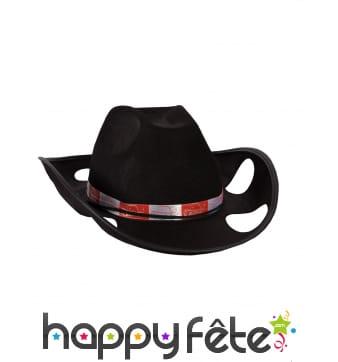 Chapeau noir porte gobelets style cowboy