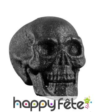 Crâne noir pailleté et décoratif