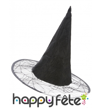 Chapeau noir sorcière décor toile d'araignée