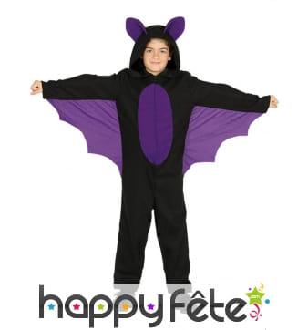 Combinaison noire violette d'enfant chauve souris