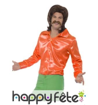 Chemise orange années 60 pour homme
