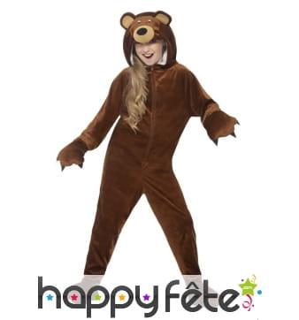 Combinaison ours brun pour enfant