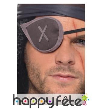 Cache oeil gris de pirate avec couture