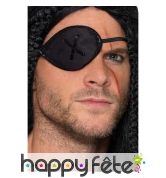 Cache oeil noir de pirate avec couture