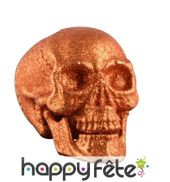Crâne orange pailleté décoratif