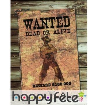 Cut out Wanted dead or alive de 41,5x30 cm