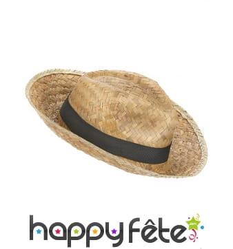 Chapeau Panama avec ruban noir, en paille